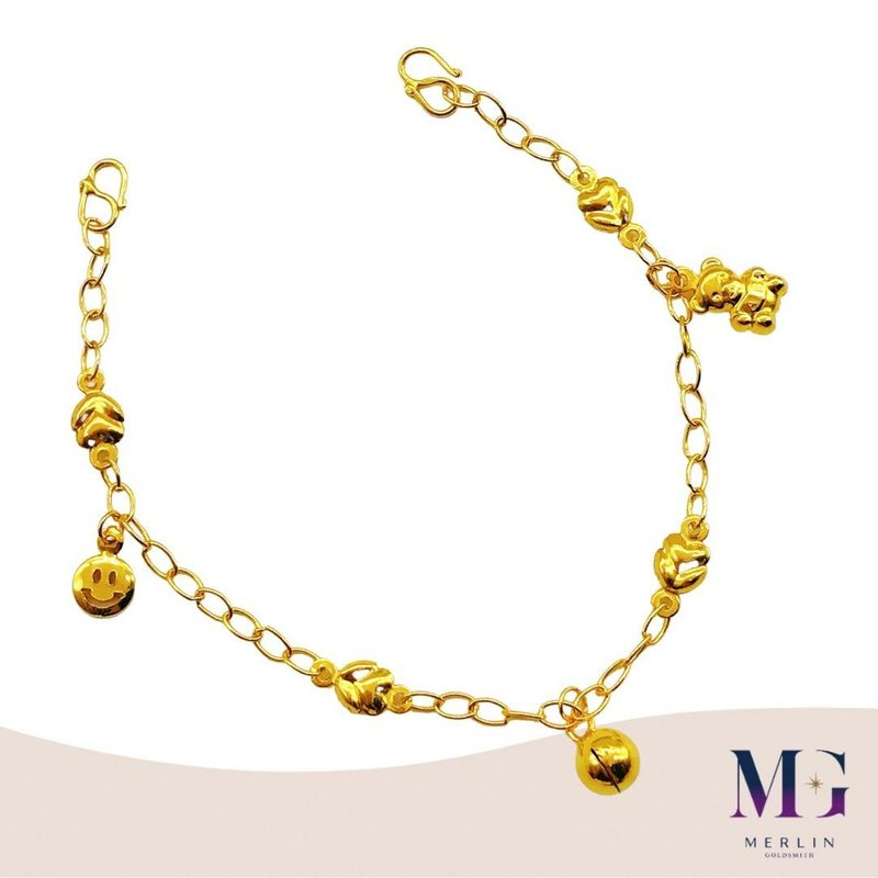 916 Gold Baby Adjustable Anklet (With Smiling Face, Teddy Bear & Bell)