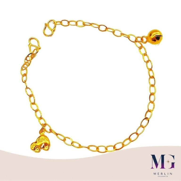 916 Gold Baby Adjustable Anklet (with Dangling Mini Car and Bell)