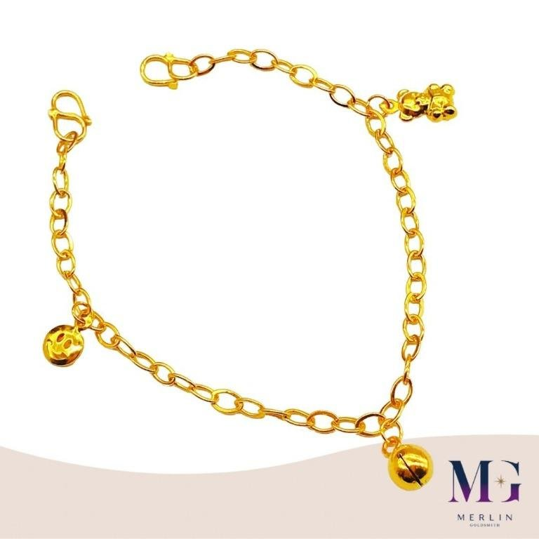 916 Gold Baby Adjustable Anklet  (with Dangling Smiling Face, Teddy Bear and Bell)