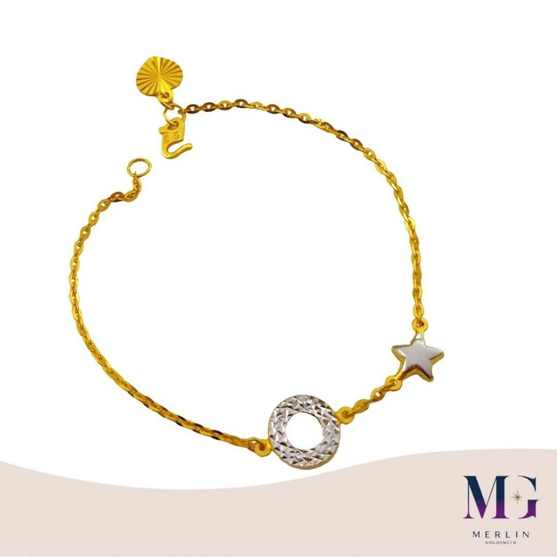 916 Gold Rhodium Donut with Star Bracelet
