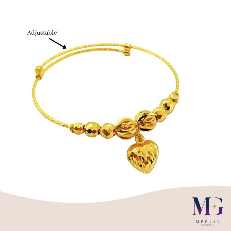 916 Gold Baby Adjustable Bangle with Dangle Heart