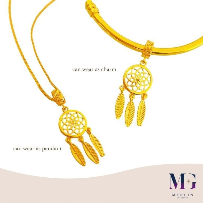 916 Gold Flowery Dreamcatcher Charm / Pendant