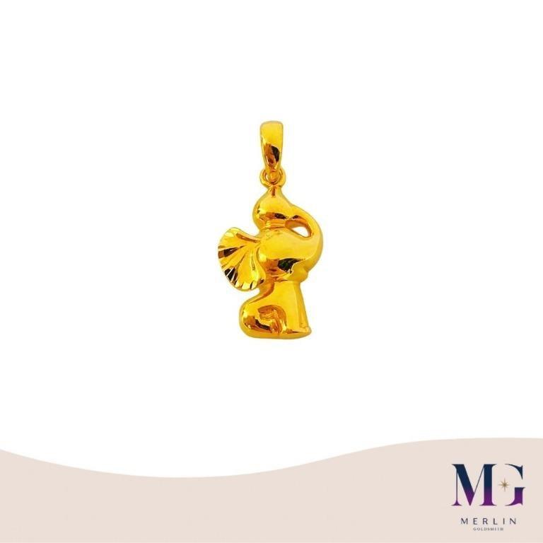 916 Gold Flying Elephant Pendant