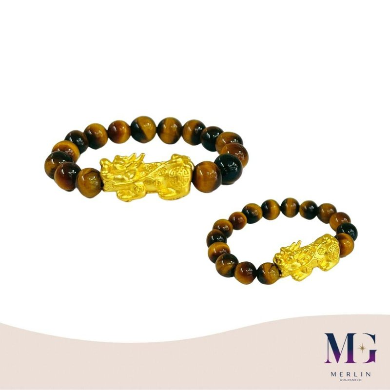 [ONLINE EXCLUSIVE] 999 Pure Gold Lucky Pixiu Paired with 4mm Tiger Eye Beads Ring
