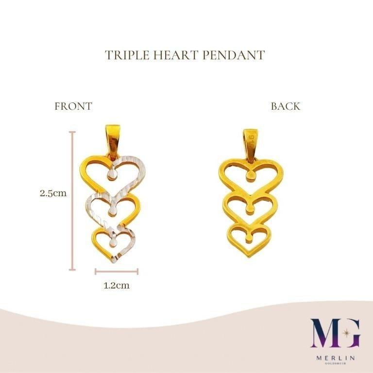 916 Gold Triple Heart Pendant