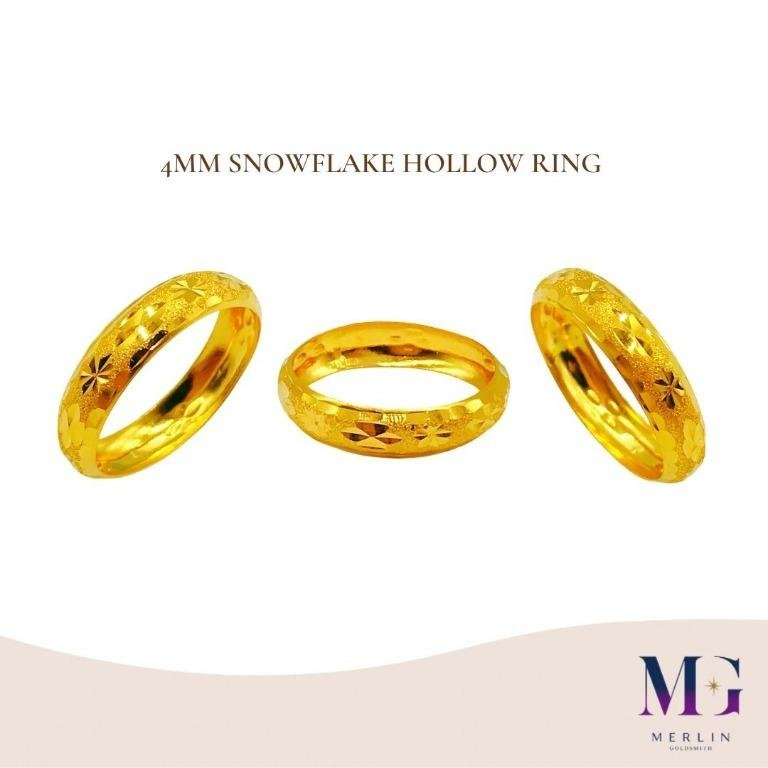 916 Gold 4mm Snowflake Hollow Ring