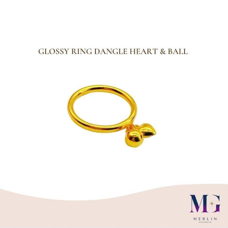 916 Gold Glossy Ring Dangle Heart & Ball