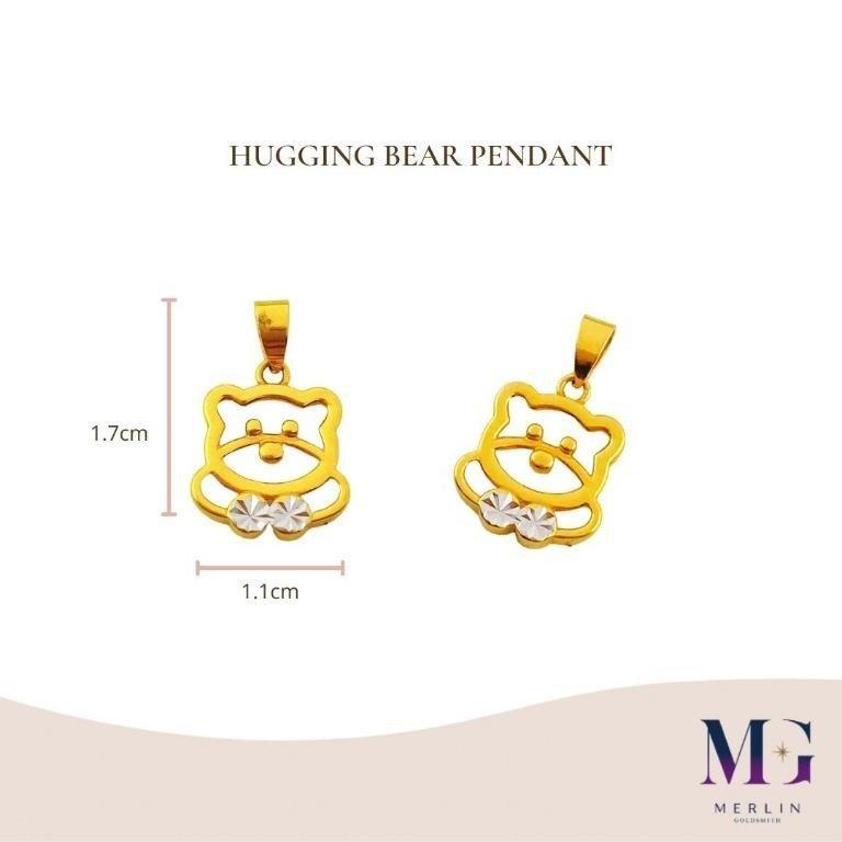 916 Gold Hugging Bear Pendant