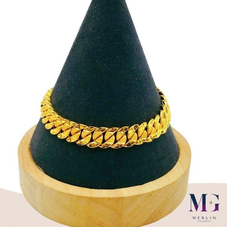 916 Gold 9mm Hollow Stamping Bracelet