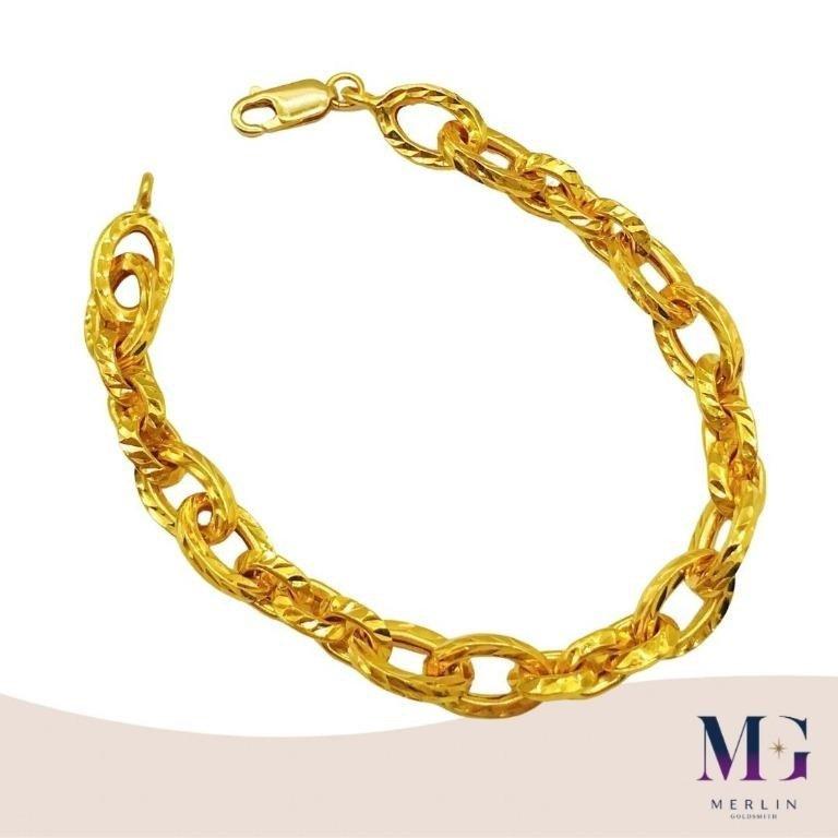 916 Gold Hollow Shinning Cut Link Bracelet