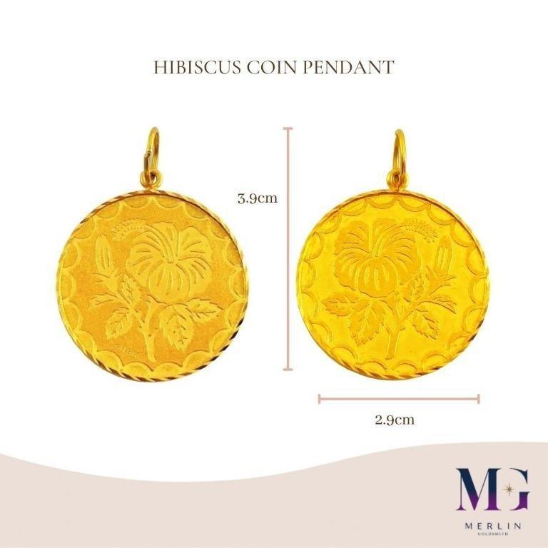 916 Gold Hibiscus Coin Pendant