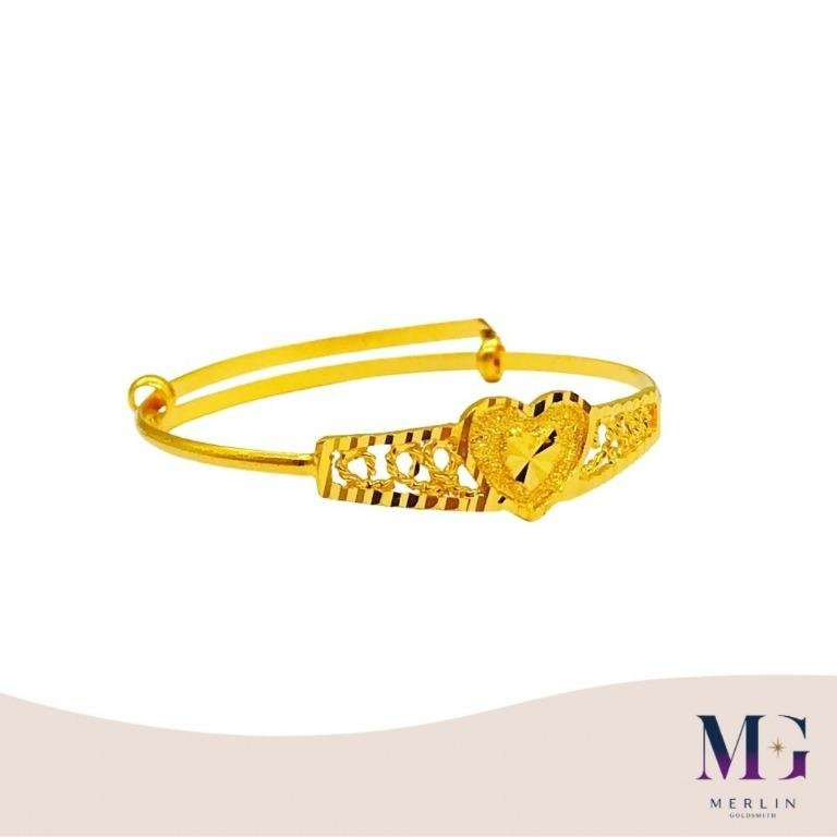 916 Gold Baby Adjustable Bangle (Lovely Heart)