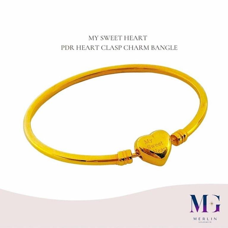 916 Gold MY SWEET HEART PDR HEART CLASP CHARM BANGLE