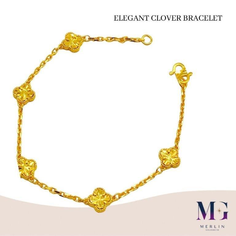 916 Gold Elegant Clover Bracelet