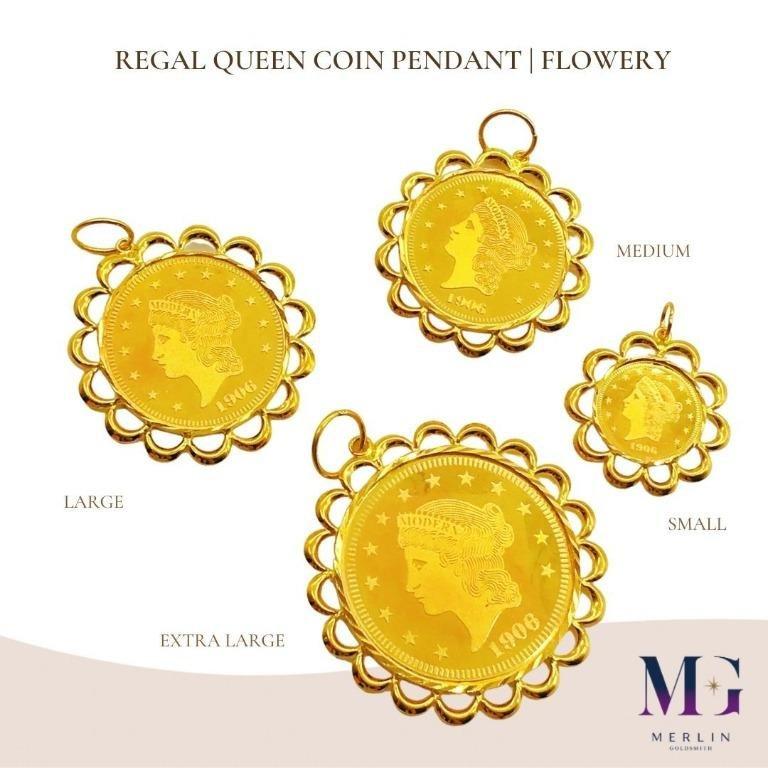 916 Gold Regal Queen Coin Pendant (Flowery)