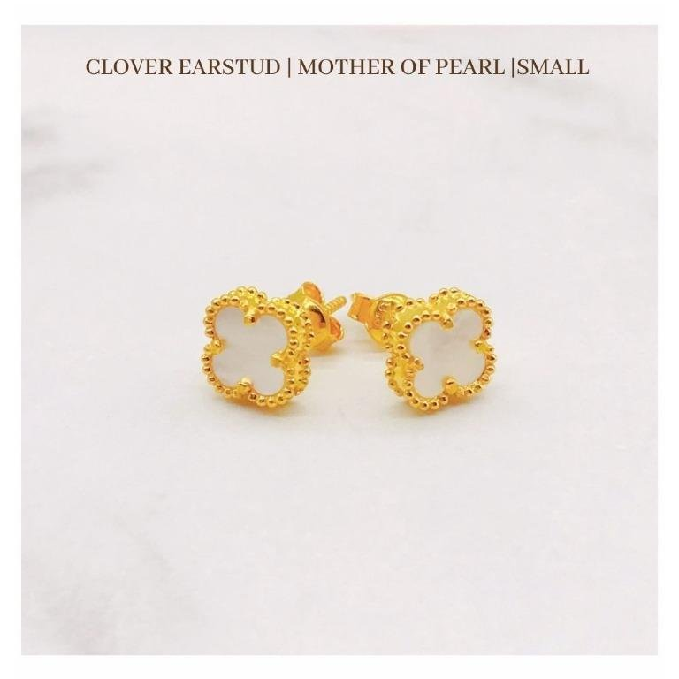 916 Gold Clover Earstud | Mother of Pearl | Small