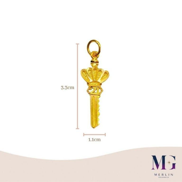 916 Gold 21st Key Pendant (Crown)