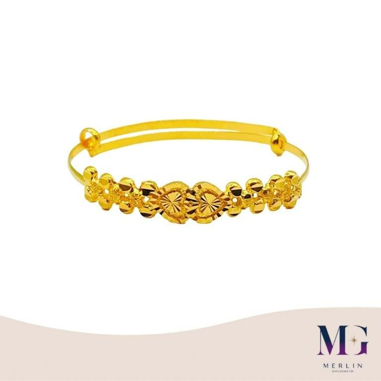 916 Gold Baby Adjustable Bangle (Fancy Duo Heart)
