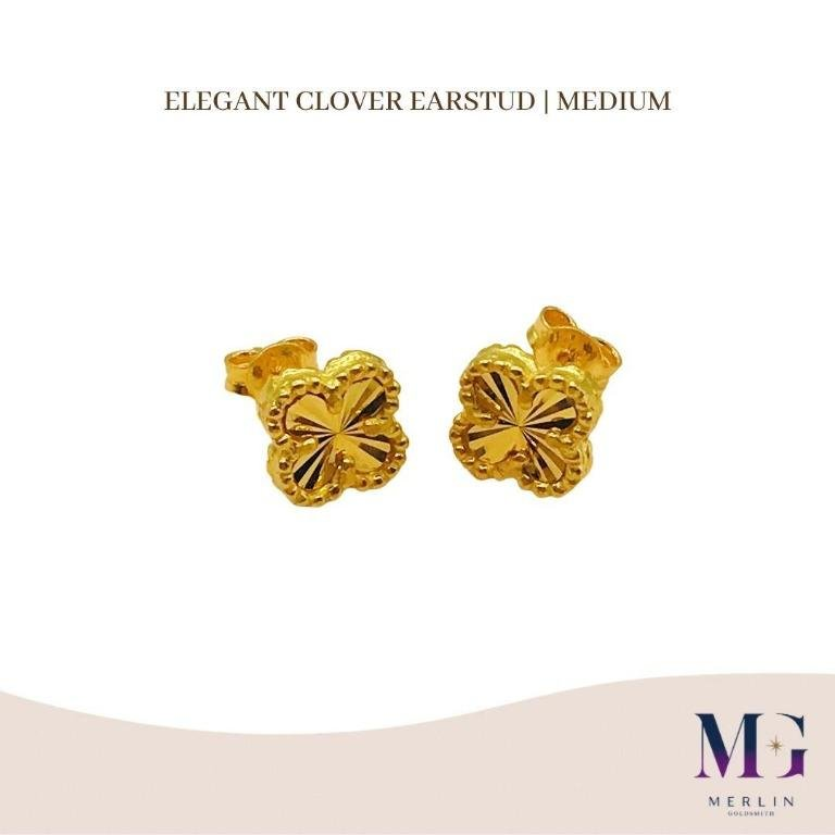 916 Gold Elegant Clover Earstud | Medium