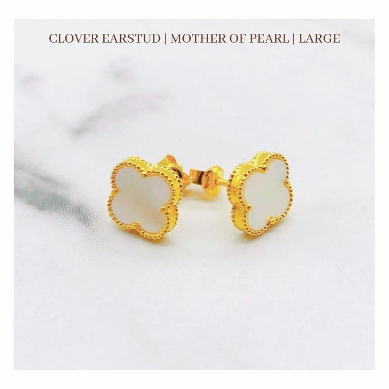 916 Gold Clover Earstud | Mother Of Pearl | Large